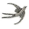 Black/ Clear Crystal Swallow/ Swift Bird Brooch In Silver Tone Metal - 68mm Across