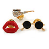3 Pcs Funky Enamel Glasses, Lips, Pipe Brooch Set for Clothes/ Bags/ Backpacks/ Jackets - 30mm