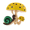 Funky Yellow Mushrooms with Brown/ Green Snail Brooch In Gold Tone Metal - 40mm Tall