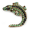 Vintage Inspired Green Crystal Crocodile Brooch/ Pendant In Antique Gold Tone Metal - 50mm Long