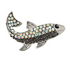 Small Quirky AB/ Black Crystal Fish Brooch In Silver Tone Metal - 35mm Across