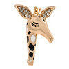 Crystal, Black/ White Enamel Giraffe's Head Brooch In Gold Tone - 35mm Tall