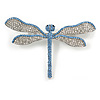 Statement Clear/ Light Blue Crystal Dragonfly Brooch In Silver Tone Metal - 75mm Across