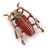 Vintage Inspired Red Enamel Bug Brooch In Bronze Tone Metal - 50mm Tall
