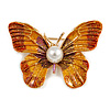 Red/ Yellow Glitter Butterfly Brooch In Gold Tone - 45mm Across