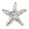 Ethnic Hammered Starfish Brooch In Silver Tone Metal - 70mm Across