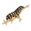 Quirky Black Enamel 'Caterpillar on The Branch' Brooch in Gold Tone - 48mm Across