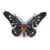 Small Multicoloured Crystal Butterfly Brooch In Silver Tone - 42mm Across