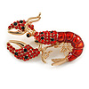 Black/ Red Crystal, Red Enamel Lobster Brooch in Gold Tone - 50mm Across
