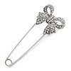 Silver Plated Clear Crystal Safety Pin Brooch With Bow Motif - 75mm L