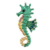 Bright Green/ Gold Enamel Crystal Seahorse Brooch/ Pendant in Gold Tone Metal - 50mm Tall