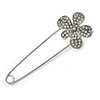 Silver Plated Clear Crystal Safety Pin Brooch With Flower Motif - 80mm L