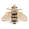 Gold Plated Clear Crystal, Black Enamel Bee Brooch - 40mm Across