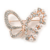 Exquisite Crystal, Faux Pearl Bead Butterfly Brooch In Rose Gold Metal - 40mm Across