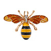 Small Funky Yellow/ Black/ Orange Bee Brooch In Gold Tone - 35mm Wide