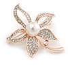 Gold Clear Crystals, White Glass Pearl Flower Brooch - 46mm Tall