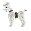 Silver Tone Textured Grey Crystal Poodle Dog Brooch - 35mm Across