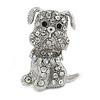 Small Clear/ Ab Crystal Bulldog Dog Brooch In Silver Tone - 30mm Tall