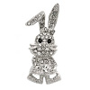 Silver Tone, Crystal Dancing Bunny Brooch - 45mm Tall