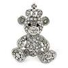 Silver Tone Clear/ Ab Crystal Royal Teddy Bear Brooch - 40mm Tall