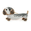 White/ Grey Enamel, Grey Crystal Dachshund Dog Brooch In Gold Tone - 45mm Across