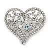 Clear/ Ab Crystal Heart Brooch In Silver Tone - 35mm Tall