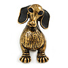 Vintage Inspired Dachshund Dog Brooch In Antique Gold Tone - 33mm Tall