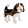 Brown/ Black/ White Enamel Beagle Puppy Dog Brooch In Gold Tone - 30mm Across
