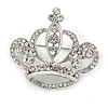 Clear Crystal Crown Brooch In Silver Tone - 40mm Across