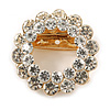 Clear Crystal Round Scarf Brooch In Gold Tone Metal - 40mm D
