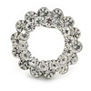 Clear Crystal Round Scarf Brooch In Silver Tone Metal - 40mm D