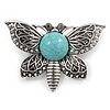 Vintage Inspired Butterfly Brooch with Simulated Turquoise Stone In Aged Silver Tone - 55mm Across
