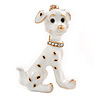 Gold Tone White/ Black Enamel Dalmatian Puppy Dog Brooch - 40mm Tall