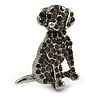 Dim Grey Crystal Dog Brooch In Silver Tone Metal - 35mm L