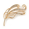 Fancy Clear Crystal Leaf Brooch In Gold Tone - 70mm L