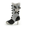 Stylish Grey/ Black Enamel Crystal Boot Brooch In Rhodium Plated Alloy - 38mm Tall