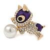 Cute Crystal, Purple Enamel Puppy Dog Brooch In Gold Tone Metal - 35mm Across