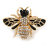 Small Black Enamel, Clear Crystal Bee Brooch In Gold Tone Metal - 28mm Across