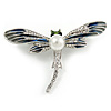 Blue/ Grey Enamel Clear Crystal, Faux Pearl Dragonfly Brooch In Silver Tone Metal - 50mm Across