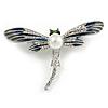 Blue/ Grey Enamel Clear Crystal, Faux Pearl Dragonfly Brooch In Silver Tone Metal - 50mm Across