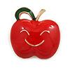 Red/ Green Enamel Smiling Apple Brooch In Gold Tone - 30mm Across