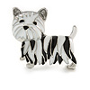 Black/ White Enamel Yorkie Dog Brooch In Sivler Tone Metal - 35mm Across
