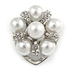 Diamante Faux Pearl Flower Scarf Pin/ Brooch In Silver Tone - 30mm D