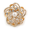 Diamante Faux Pearl Flower Scarf Pin/ Brooch In Gold Tone - 35mm D