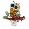 Multicoloured Owl Brooch In Silver Tone - 40mm Tall