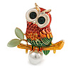 Multicoloured Owl  Brooch In Gold Tone - 40mm Tall