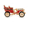 Small Vintage Retro Classic 1920's 30's Red/ Black Enamel Car Brooch In Gold Tone Metal - 35mm Across