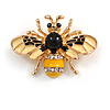 Adorable Black/ Yellow Enamel Crystal Bee Brooch In Gold Tone - 35mm Across