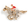 Crystal Racing Horse and Jockey Brooch In Gold Tone Metal - 48mm Across