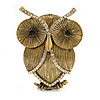 Vintage Inspired Crystal Textured Owl Brooch In Aged Gold Tone - 50mm Tall